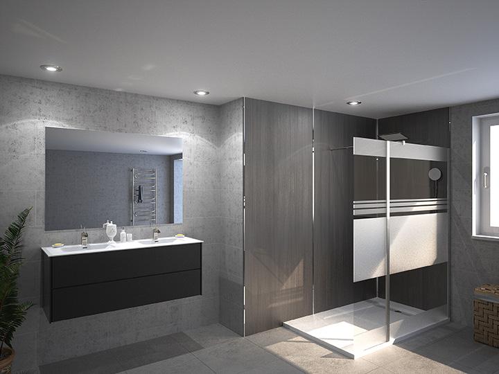 Salle de bain moderne douche italienne - Tartifume deco